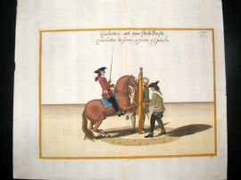 Cavendish Equestrian Dressage 1700 Antique Hand Colored Horse Print 63